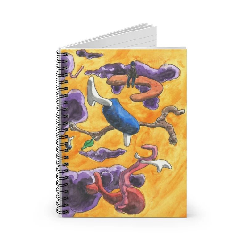 Ruled Line Spiral Notebook With Cool Art Cover 9  Retro image 0
