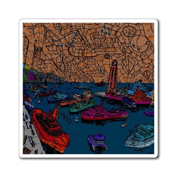 Urban Art Magnet 3  Retro custom gift line art pop art image 0