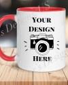 Stylish Coffee Mug Mockup Left 11 Oz White Mug With Red Etsy