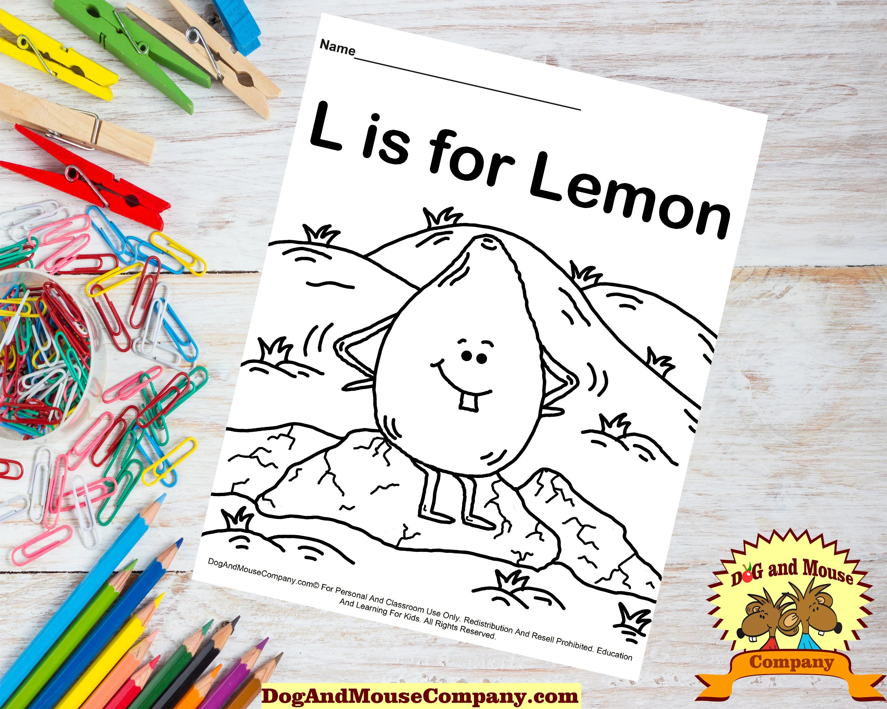 L Is For Lemon Learn Your Abc S Coloring Page Printable