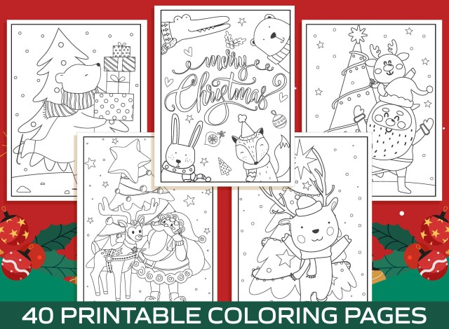 Christmas Coloring Pages - 20 Printable Christmas Coloring Pages for Kids,  Boys, Girls, Teens. Christmas Party Activity, Christmas Gift.