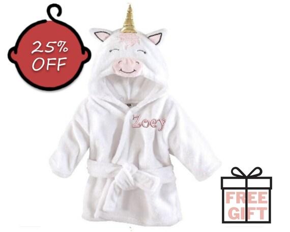 Baby girl shower Personalized Baby Bathrobe Customized Hooded Infant Bathrobe Name Embroidered Baby Gift Hooded Gray Unicorn Bathrobe