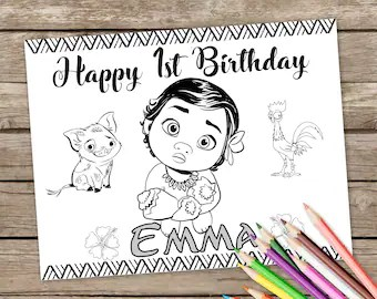 Moana Coloring Pages Etsy
