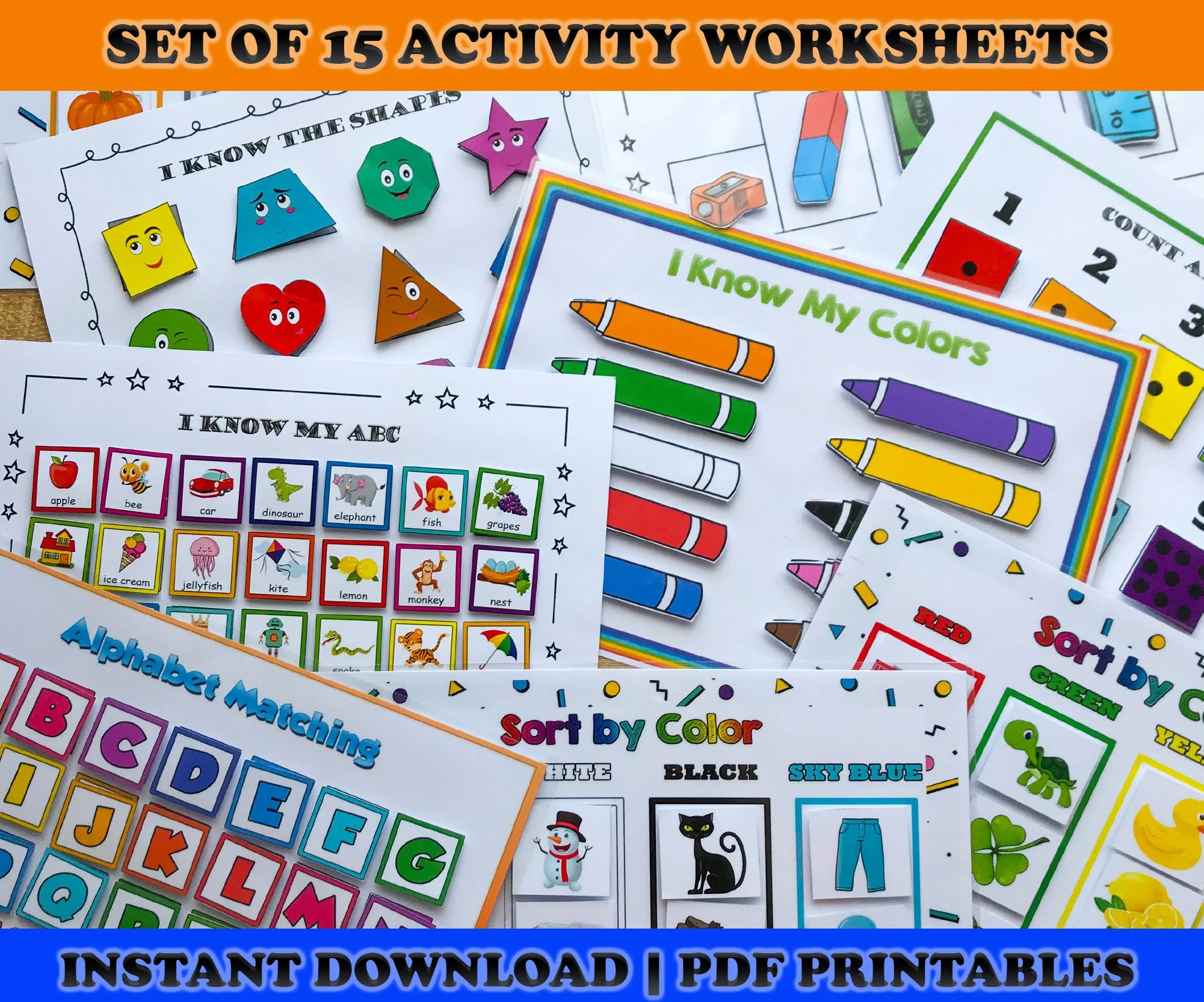 Busy Book Printable Worksheets Set Matching Activities