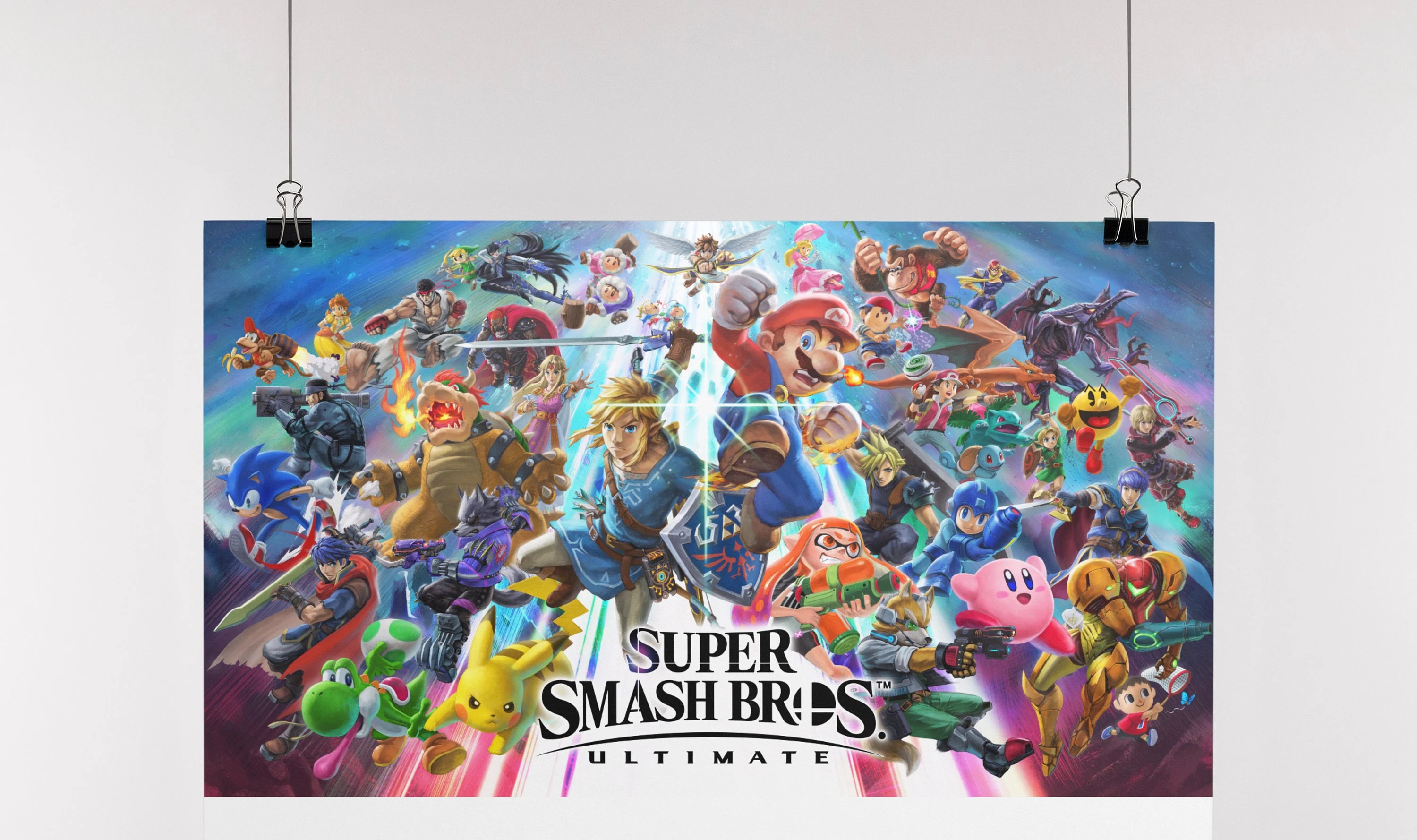 super smash bros ultimate artwork box art poster print limited edition wall art various sizes available hand drawn artwork wall posters