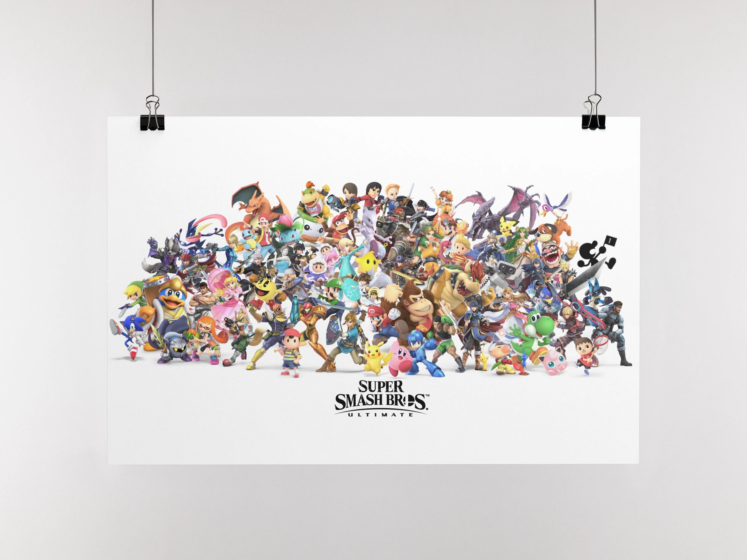 super smash bros ultimate roster characters poster print limited edition wall art various sizes available hand drawn artwork wall poster