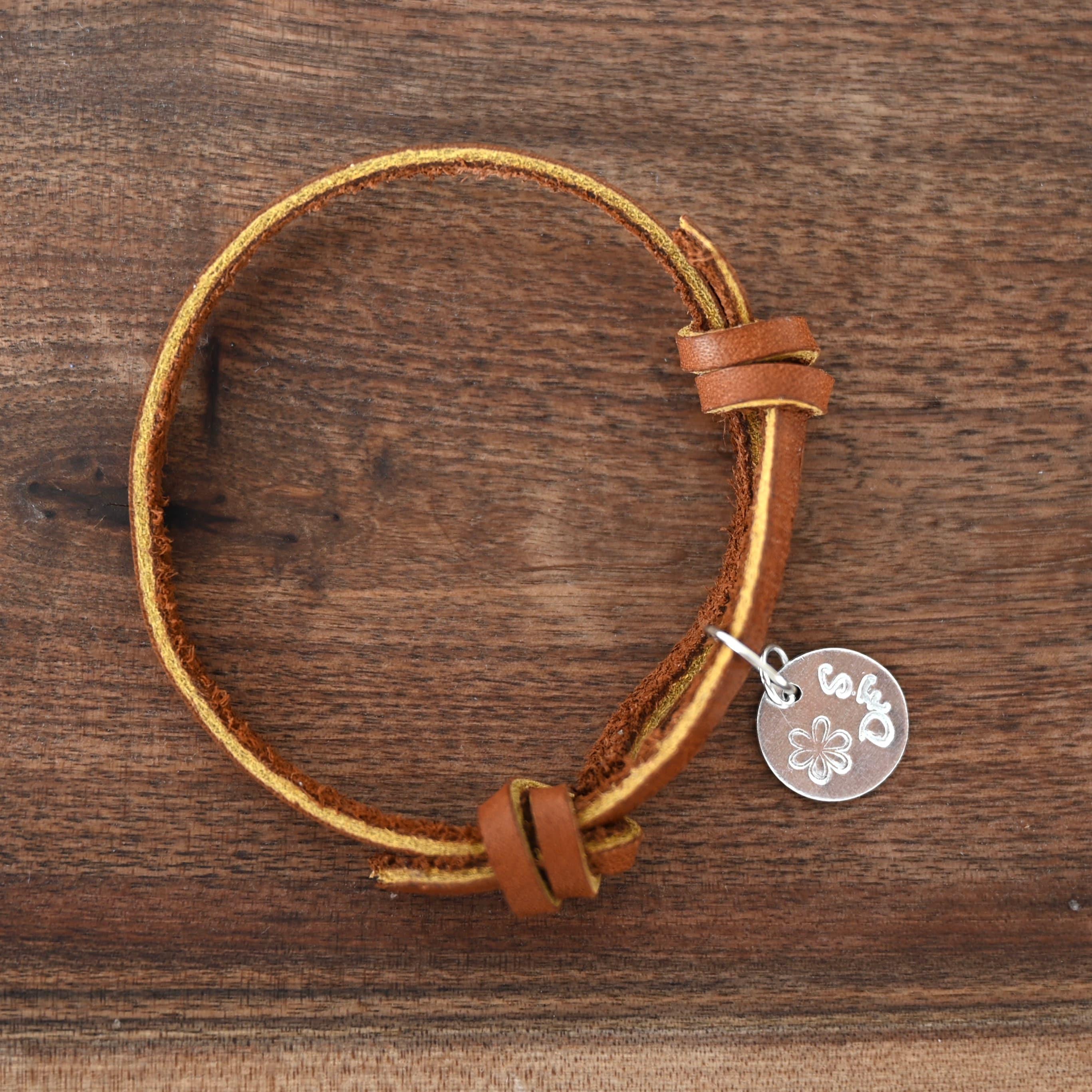 Brown Genuine Leather Bracelet/Adjustable Personalized image 4