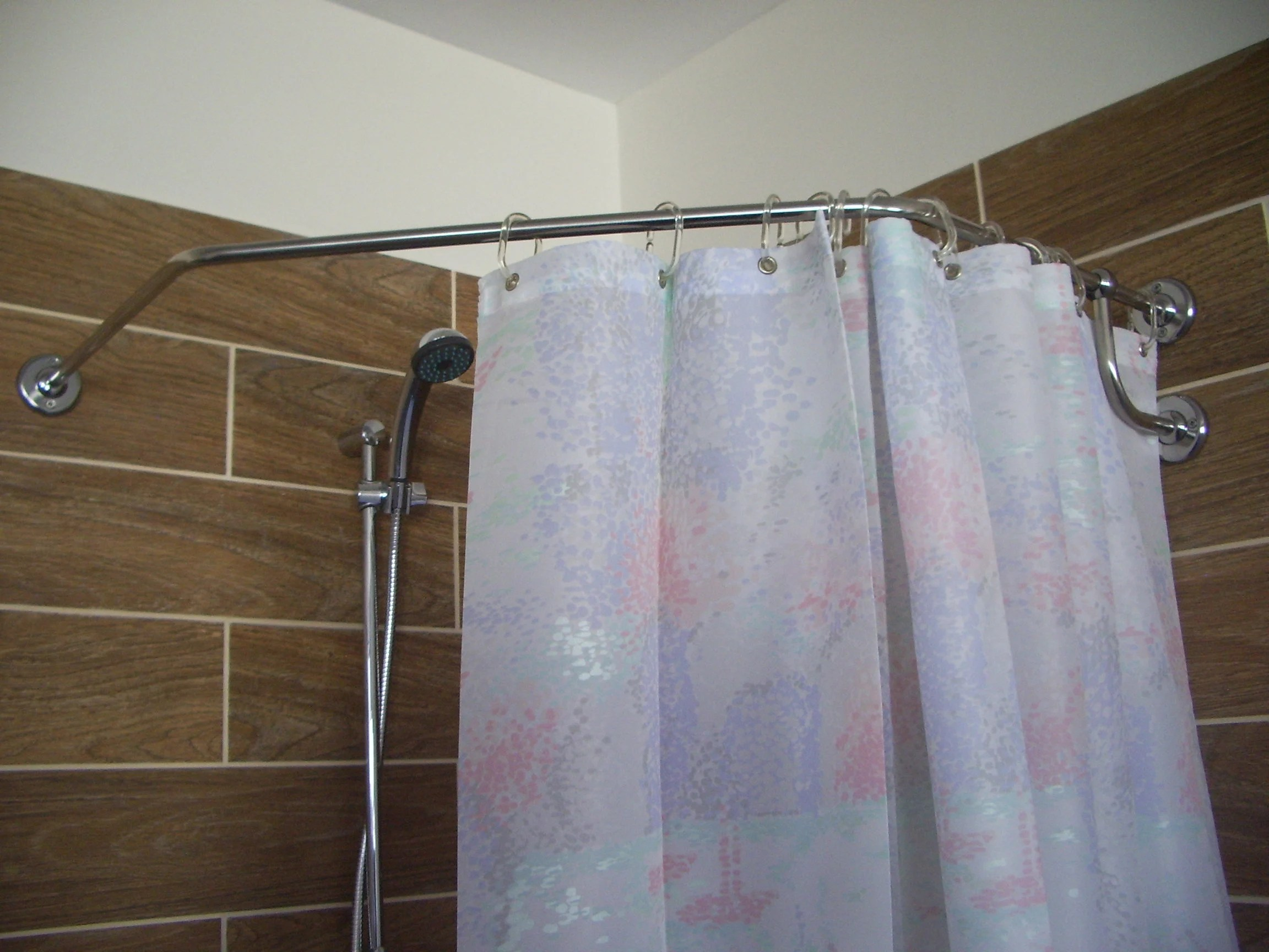 diamond corner shower curtain rod for bathroom fitting and dressing room for wall montage