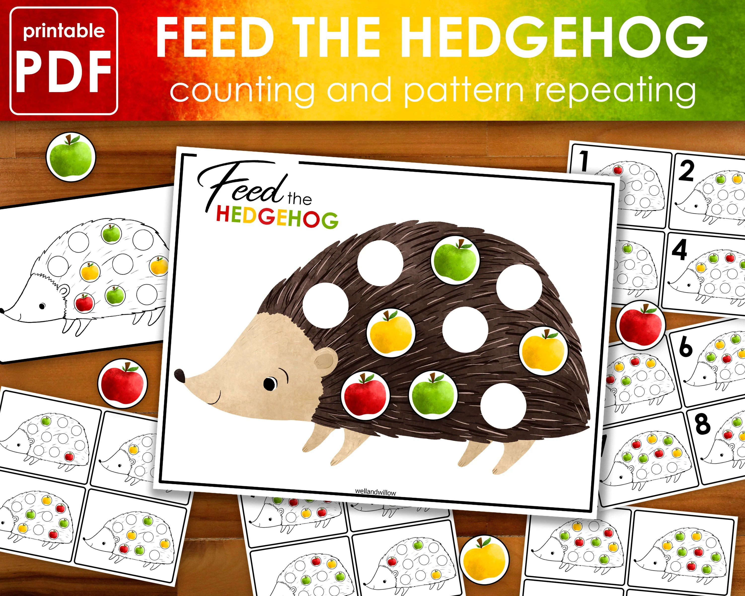 Feed The Hedgehog Activity Worksheet Busy Book Binder