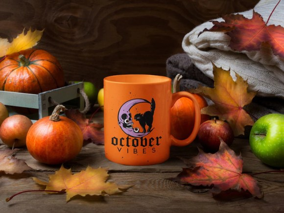 Halloween Vibes Fall Mug CatMoon October image 0