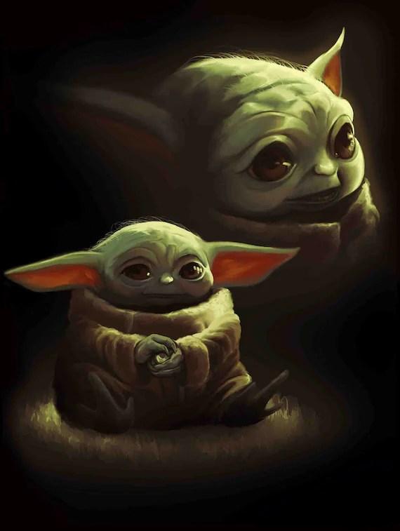baby yoda von star wars poster druckbare datei