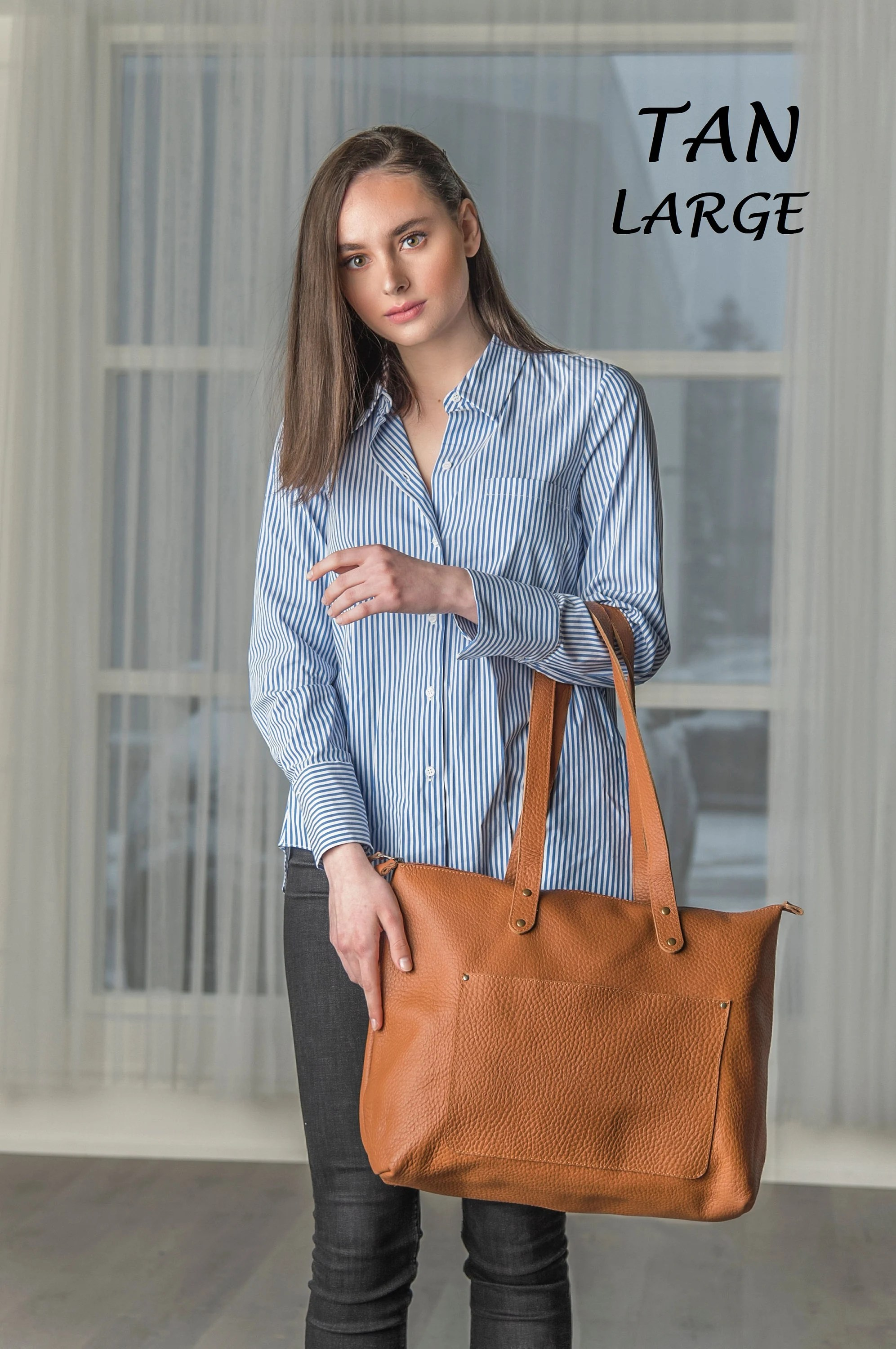 Personalized Leather Tote Bag Women's Leather Handbag image 7