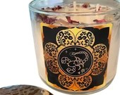 Scorpio Candle, Scorpio Gift, Crystal Candle w/ Rose Petals + Lavender Buds, Handmade Candle, 14.5 oz, Large 3 Wick Candle by Namaste Home