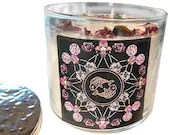 Pisces Candle, Pisces Gift, Herbal Candle, Rose Petals + Lavender Buds, 14.5 oz., Large 3 Wick Candle by Namaste Home