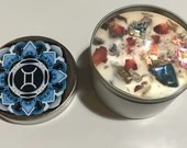 Gemini Candle, Gemini Gift, Zodiac Candle, Handmade Candle with Rose Petals, Lavender Buds and Crystals, Birthday, Christmas, Gift
