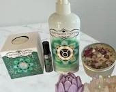 Taurus Gift Set, Aromatherapy, Energy Activating Spa Day Bundle, Venus Heart Chakra Inspired Reiki Blend, BathBomb,Spray, Rollon, Soap, Gift