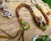Woodland Berries Dread Wrap Hair Wrap - Made To Order from Upcycled Materials and Crochet Hoop - boho Fae hippie wicca