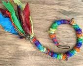 Rainbow Dread Wrap hair wrap - Made To Order From Recycled Sari Silk - hippie Boho festival rave hair