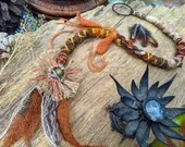 Upcycled Dread Wrap hair wrap with Flower Motif  and Knitted leaves - Woodland Fae autumnal boho Festival