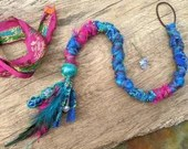 Blue and Pink Dread Wrap hair wrap - Upcycled from Sari Silk and Charm, with Agate Crystal - raver cyber festival hippie boho bright hair