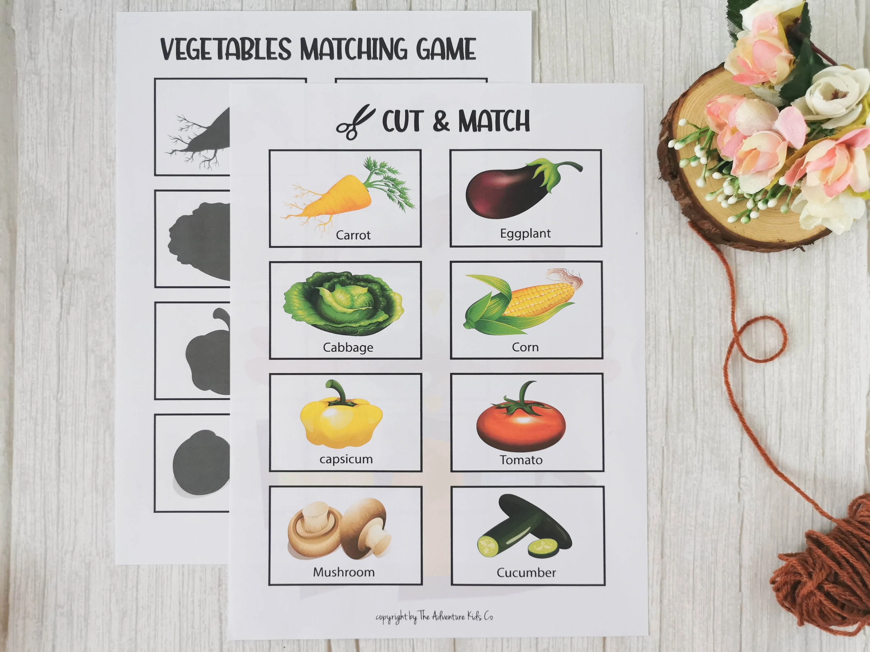 Vegetables Matching Game Printable Match The Vegetables