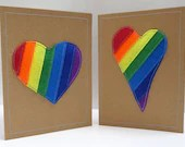 Beautiful, unique, handmade rainbow heart 3D cards. Made from felt and recycled card. Choose your colour and style preference.
