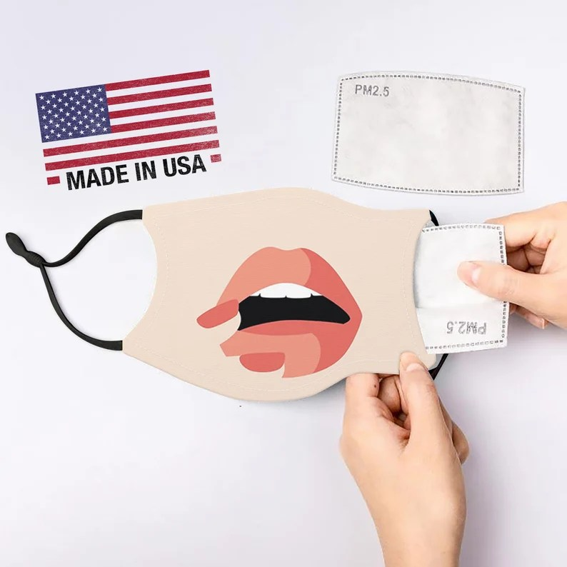 lipstick face mask Adult face mask with filter pocket and image 0