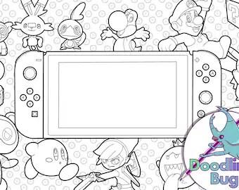 Nintendo Coloring Etsy