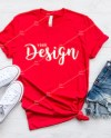 Bella Canvas 3001 Red T Shirt Mockup Unisex Tee Mock Up Flat Etsy