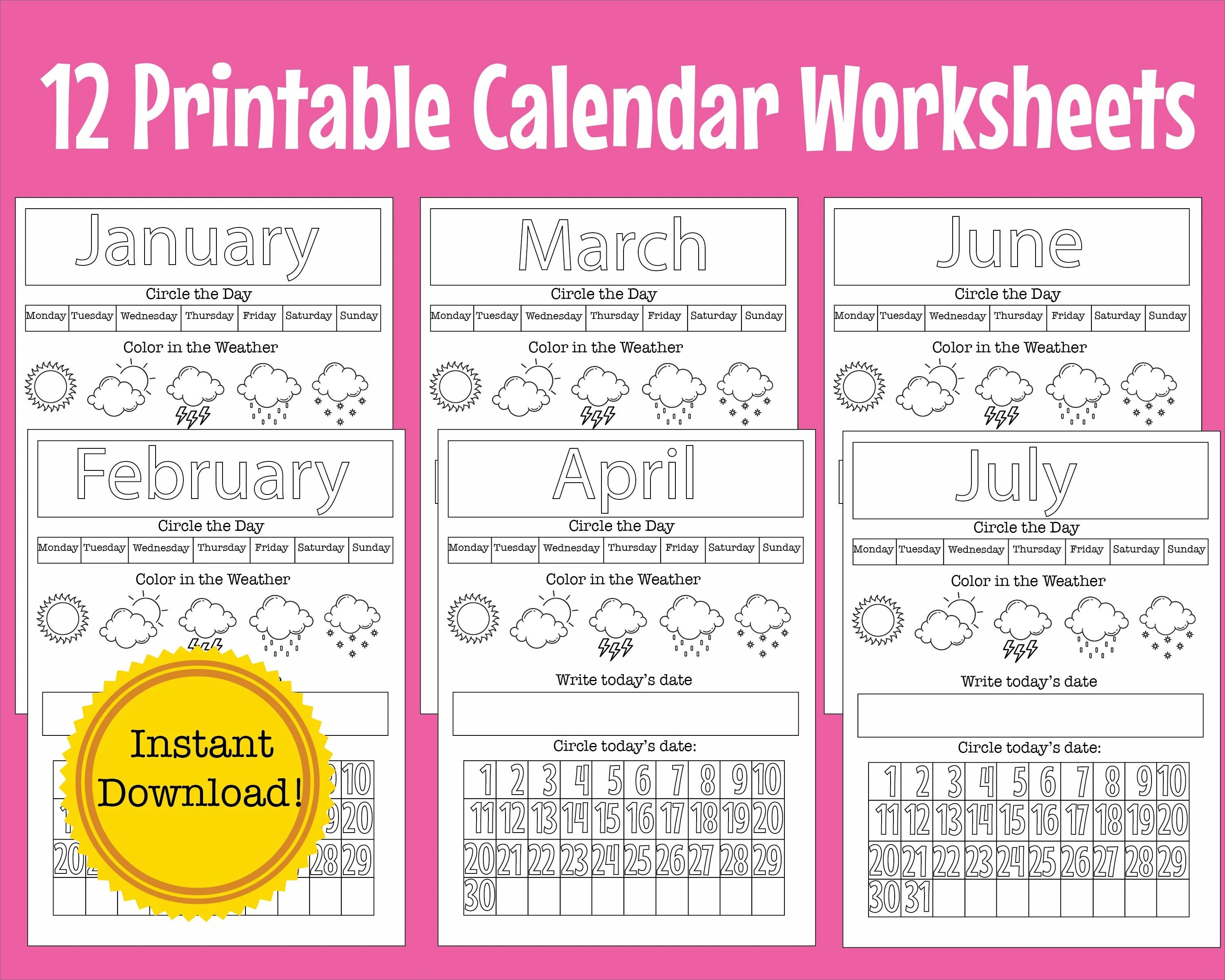 12 Preschool Kindergarten Calendar Worksheet Pages Month