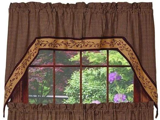primitive curtain panels etsy