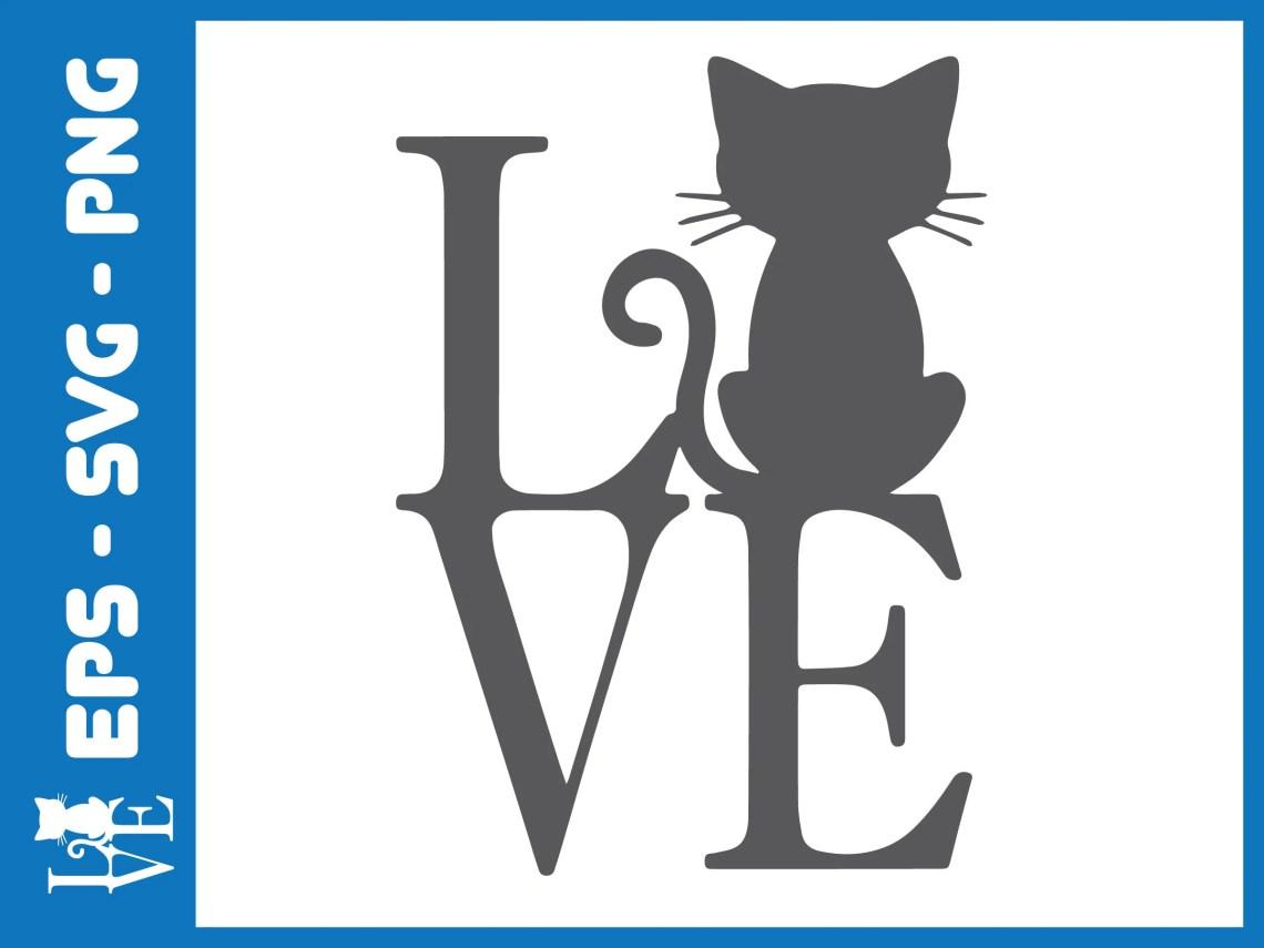 Download Love Cats Svg, Love Clipart, Love Cat Silhouette Cut File ...