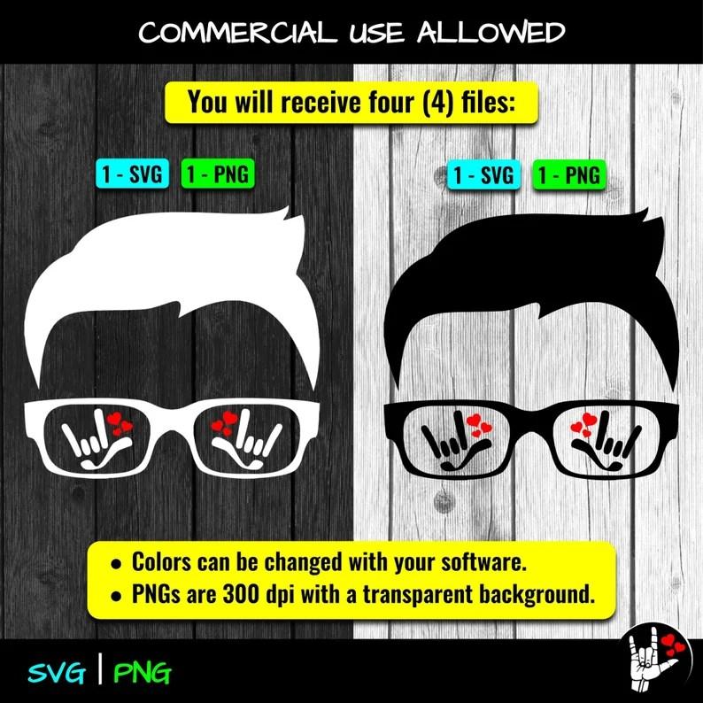 Download ASL SVG ILY I Love You Head Glasses Sign Language svg cut ...