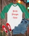 Christmas Mock Up Red And White Raglan Baseball Shirt Unisex Etsy