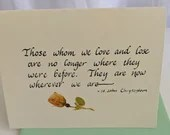 Sympathy Card |Thinking of you at this difficult time |Care and Comfort Cards |Christian Cards | Calligraphy cards |
