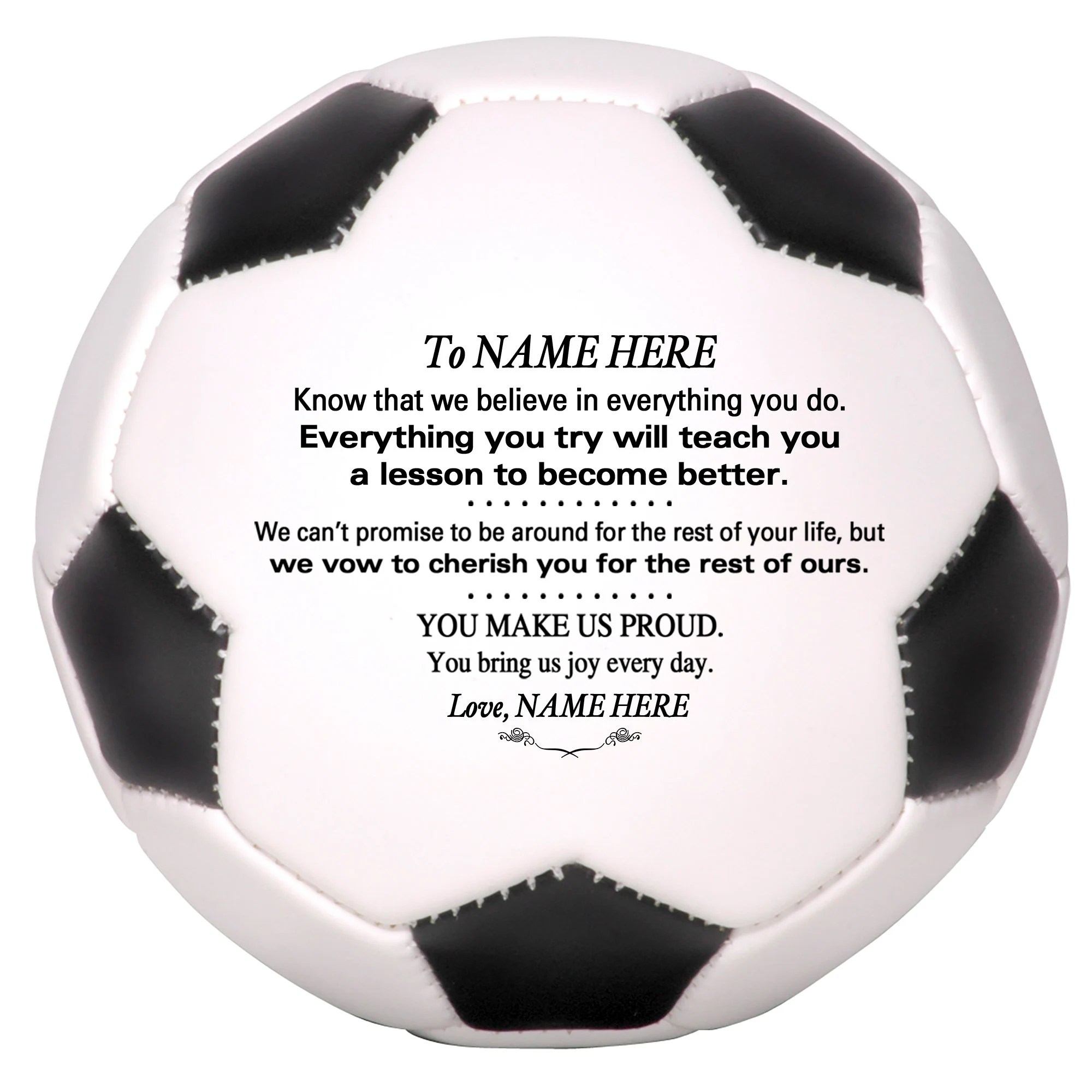 Personalized Custom Soccer Ball, To Our Son Grandson Daughter Granddaughter, from Grandpa Grandma Dad Mom, Wedding, Graduation Birthday                                                                905Depot         From shop 905Depot                               4 out of 5 stars                                                                                                                                                                                                                                                          (2)                 2 reviews                                                      CA$49.39                                                                   FREE delivery