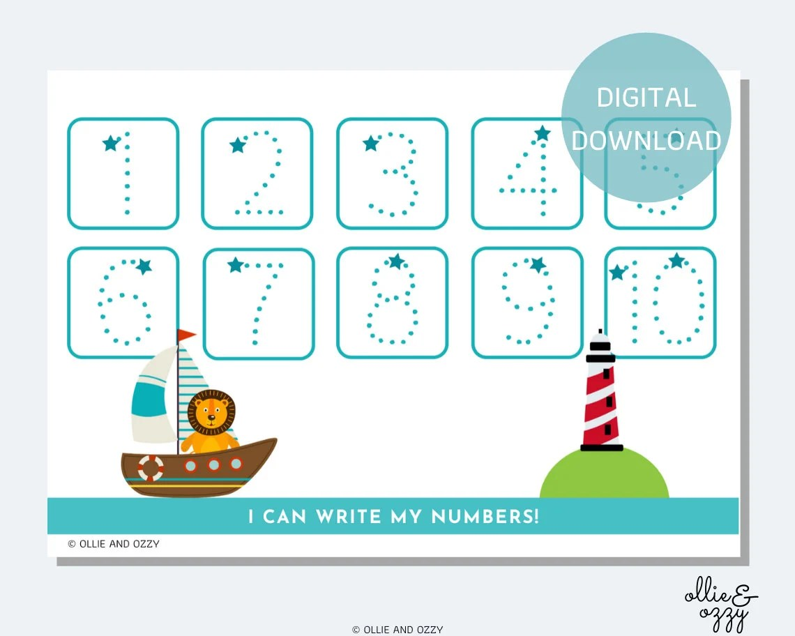 Printable Number Tracing Worksheet Busy Book Insert Eyfs