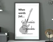 Music Quote Print, Shakespeare wall art. Guitar Wall Art Prints. Digital Gift for Music lovers INSTANT DIGITAL DOWNLOAD