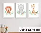 Safari Animal Nursery Prints, Watercolour Digital Wall Art, Printable Gift For New Baby or Birthday. DIGITAL DOWNLOAD