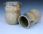 Woodfired Celadon Handled Vessels