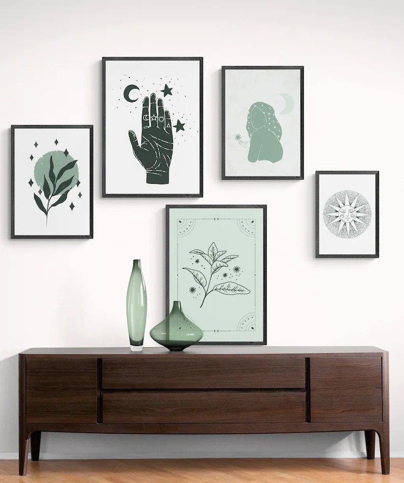 Mystical gallery wall set of 5 prints printable witchy wall image 0