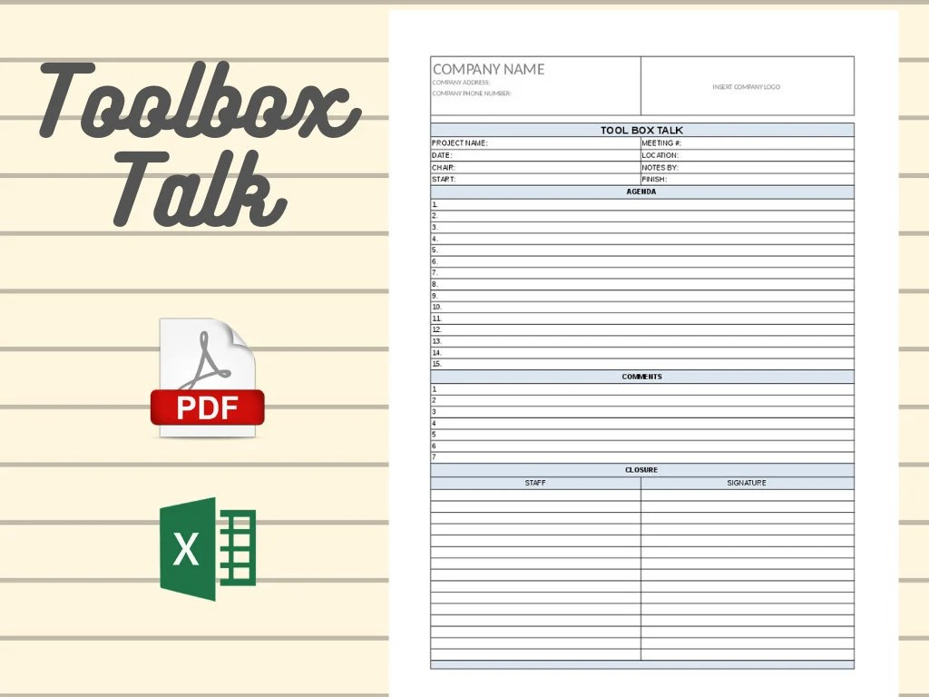 Comments and help with safety meeting minutes pdf. Toolbox Talk Template Project Management Etsy