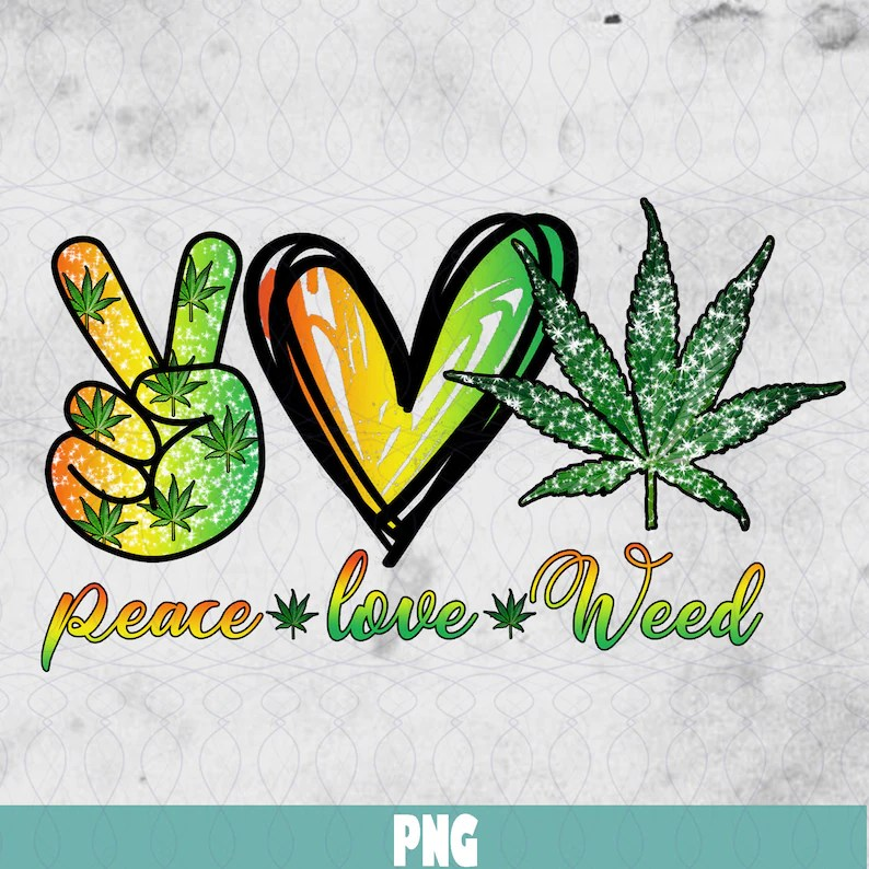 Download Peace Love Weed Hippie Heart Lovers Gifts Design 2020 PNG ...