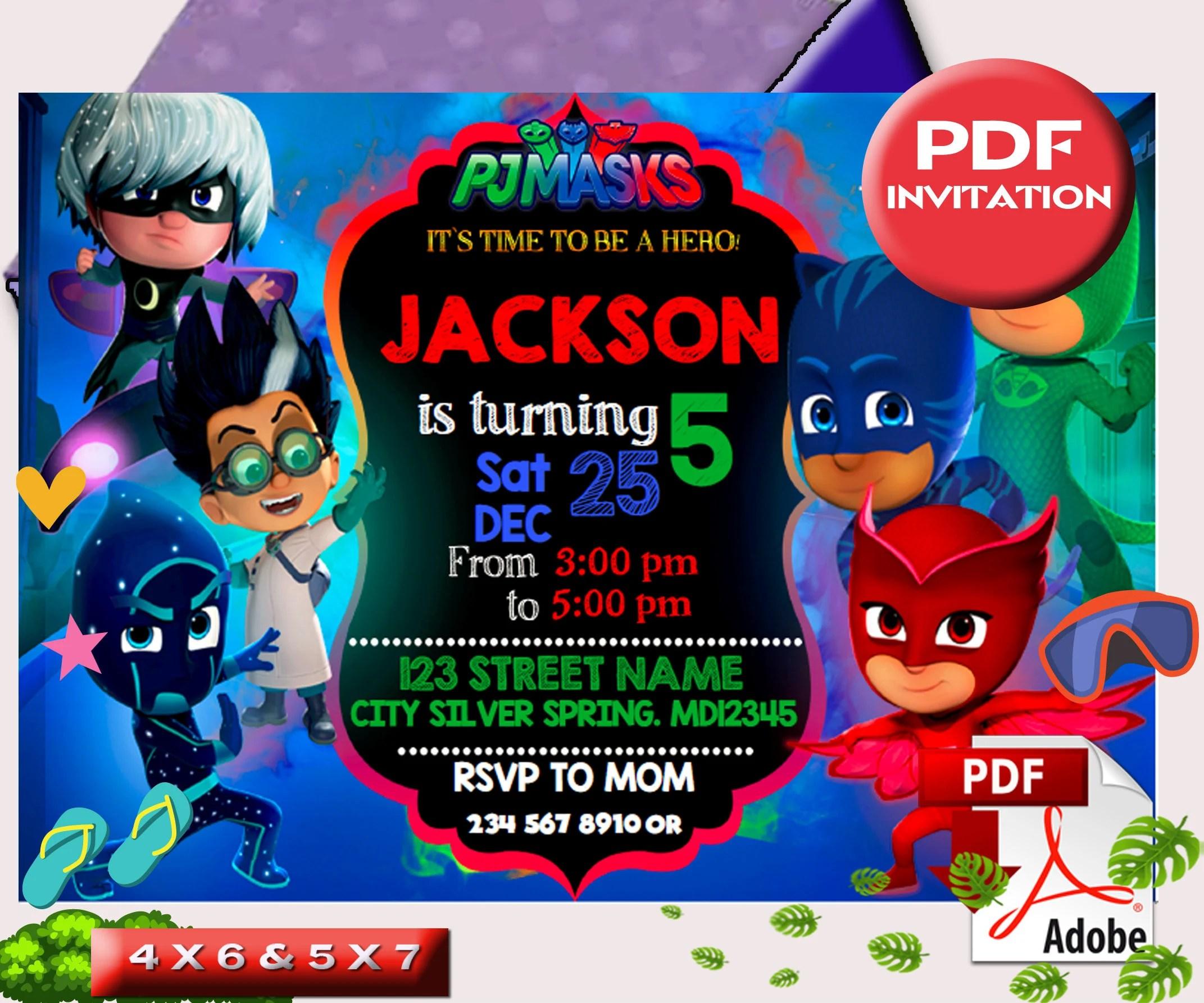 pj masks invitation etsy