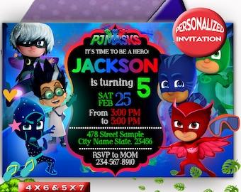 pj masks invitation editable etsy