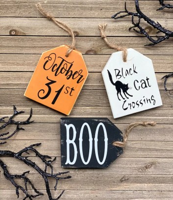 Halloween Tags/ Wooden Tags/ Tiered Tray Decor/ Halloween image 0