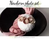 Rose Newborn Posing Fabric & Tieback Set | Rose Posing Fabric |  Newborn headband | Fabric wrap  | Newborn wrap set | tieback and wrap