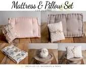 Newborn Mattress & pillow set | Newborn pillow | French tufted mattress | Newborn photo prop  Mattress | Tieback Pillow