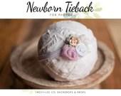 Newborn Tiebacks | Newborn photography prop | Lavender Newborn headband | Photography prop | Flower Headband | Baby Headband