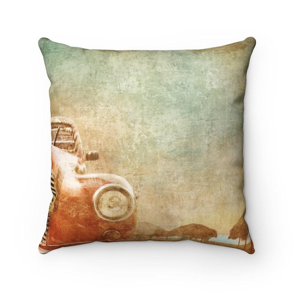 retro throw pillow beige orange blue